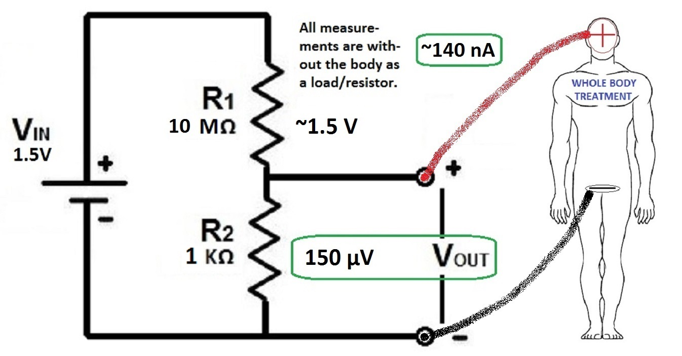 Regeneration Protocol Of Dr Robert O Becker Md Voltage Divider Circuit Diagram Here Are Two Examples Using An Appropriate For A Right Hand Dominant Or Left Person Invert Connections To The